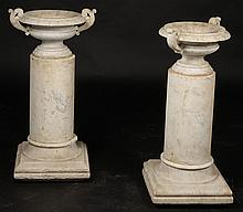 PAIR CARVED MARBLE URNS SCROLLING  1900