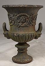 VICTORIAN CAST IRON GARDEN URN C. 1870