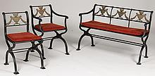 NEOCLASSICAL BENCH CHAIRS CAST IRON BRONZE C.1930