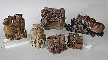 AMAZING 6 PC COLLECTION CHINESE SOAPSTONE VASES