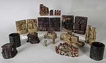 LOT OF 20 ASIAN SOAPSTONE ASSORTMENT CIRCA 1900