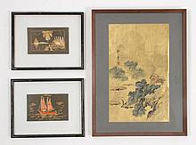LOT OF THREE ASIAN MIXED MEDIA WORKS OF ART