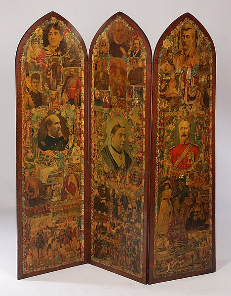 THREE PANEL GOTHIC FORM DECOUPAGE SCREEN