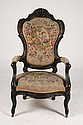 ROSEWOOD VICTORIAN ARMCHAIR W/NEEDLEPOINT C.1890