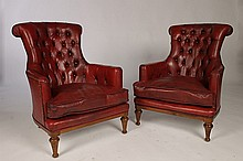 PAIR OF WILLIAM IV STYLE LEATHER LIBRARY CHAIRS