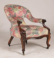 ENGLISH VICTORIAN ROSEWOOD ARMCHAIR C.1880