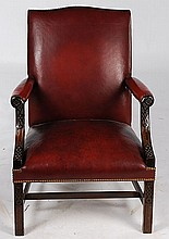 CHIPPENDALE CARVED MAHOGANY ARM CHAIR