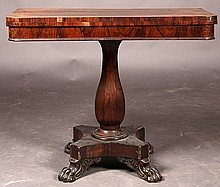 ROSEWOOD FLIP TOP CONSOLE TABLE PAW FEET