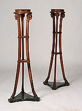 PAIR OF RAM'S HEAD MAHOGANY PEDESTALS ON MARBLE BASE