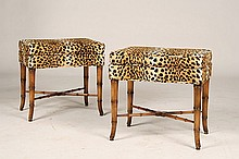 PAIR OF LEOPARD UPHOLSTERED BENCHES