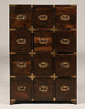 CAMPAIGN STYLE MULTIDRAWER CABINET TWELVE DRAWERS