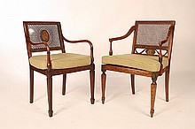 2 ENGLISH ADAMS STYLE ARM CHAIRS C 1890
