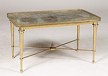 BRONZE X-FORM LOW TABLE MOTTLED MIRRORED TOP