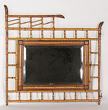 BAMBOO HAT RACK AND MIRROR C. 1900