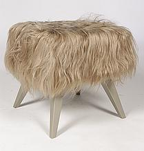 MODERNIST LONG HAIR COVERED STOOL TAPERED LEGS