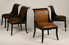 SET OF 4 KLISMOS STYLE EBONIZED DINING CHAIRS