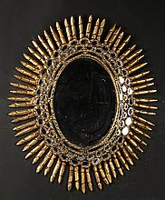 GILT WOOD OVAL SUNBURST MIRROR C.1950