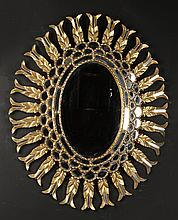 GILTWOOD OVAL MIRROR TIERED BORDER C. 1950