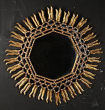 GILT WOOD HEXAGONAL SUNBURST MIRROR C.1970