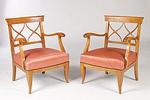 PR FRENCH CHARLES MOREUX STYLE OPEN ARM CHAIRS