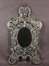 ANTIQUE VENETIAN MIRROR ETCHED SCROLLS C.1910
