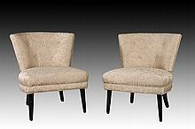 PAIR BOUDOIR CHAIRS IVORY FABRIC C.1940