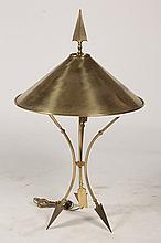STYLIZED BRONZE ARROW CONICAL TABLE LAMP C. 1950