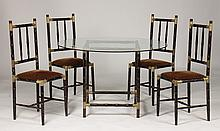 FAUX BAMBOO BILLY HAINES STYLE TABLE FOUR CHAIRS