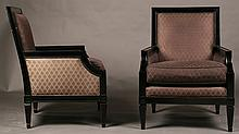 PAIR OF NEOCLASSICAL EBONIZED LIBRARY CHAIRS