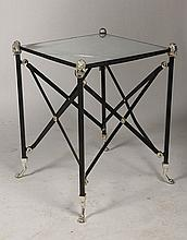 REGENCY WROUGHT IRON SIDE TABLE MIRRORED TOP