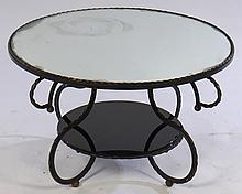 FRENCH IRON 2 TIER COFFEE TABLE MIRRORED 1950