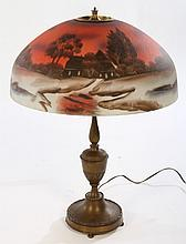 EARLY 20TH C. BRONZE LAMP PAINTED GLASS HANDEL