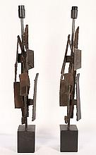 GOOD PAIR IRON BRUTALIST TABLE LAMPS