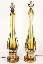 PAIR MID CENTURY MURANO STYLE GLASS LAMPS