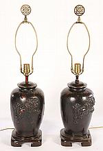 PAIR FAUX TORTOISE CHINESE LAMPS JAMES MONT