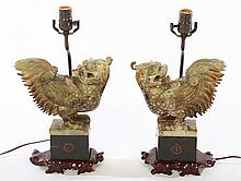 PAIR CHINESE CARVED STONE BIRD FORM LAMPS