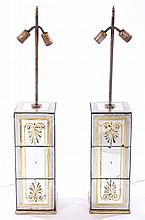 PAIR EGLOMISE DECORATED TABLE LAMPS