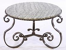 FRENCH WROUGHT IRON MARBLE TOP COFFEE TABLE C1945