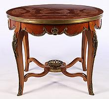 BRONZE MOUNTED MARQUETRY INLAID CENTER TABLE