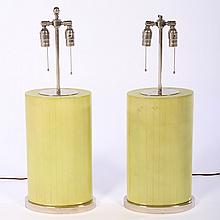 PAIR OF CELADON LACQUERED TABLE LAMPS METAL BASE