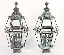 VERDIGRIS COPPER EXTERIOR LIGHTS BEVELED GLASS
