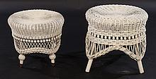 LOT OF TWO VICTORIAN WICKER STOOLS
