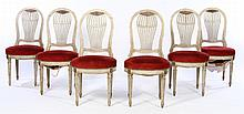 SET 6 BALLOON BACK PAINTED DINING CHAIRS 1940