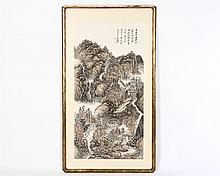 MONUMENTAL SIGNED CHINESE DRAWING VILLAGE SCENE