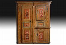 19TH C. NORTHERN EUROPEAN CARVED PAINTED CUPBOARD