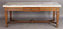 OAK GILTWOOD MARBLE TOP SALON TABLE C.1900
