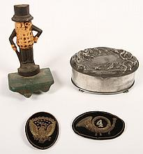 4 PC LOT 19TH C. MILITARY PATCHES JEWELRY CASKET