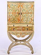PARCHMENT GILT PAINT DECORATED DRESSING CABINET