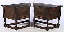 PAIR CARVED OAK CONSOLES BY KENSINGTON FURN NYC