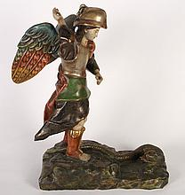 CARVED AND POLYCHROMED ST. GEORGE AND SERPENT